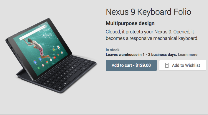 Nexus 9 keyboard folio now available — for $129