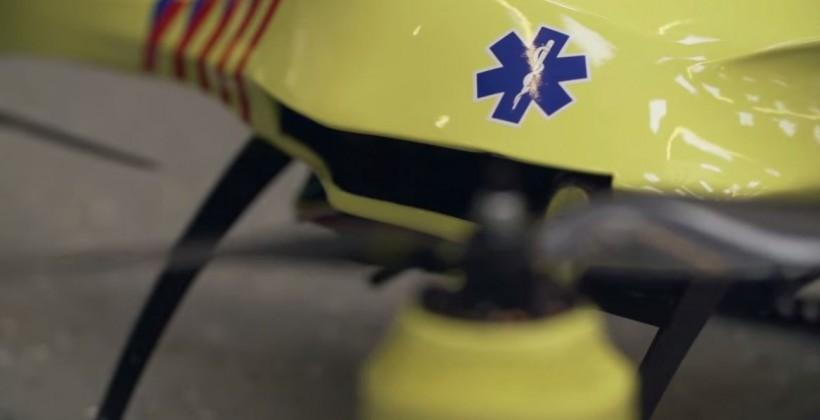 Ambulance Drone delivers a defibrillator by air