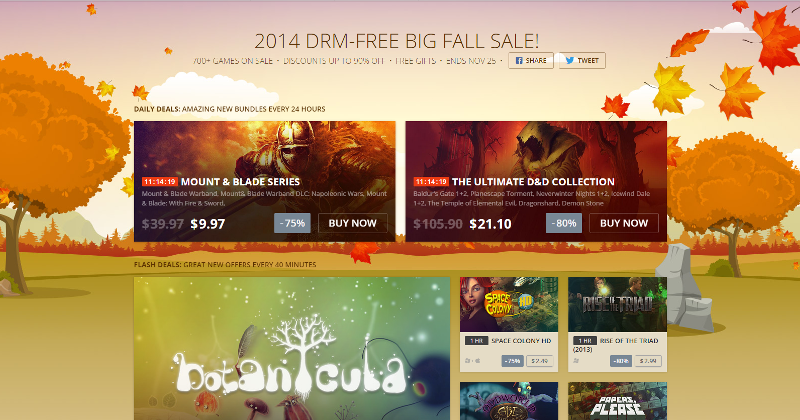 GOG kickstarts Big Fall Sale with free Mount & Blade