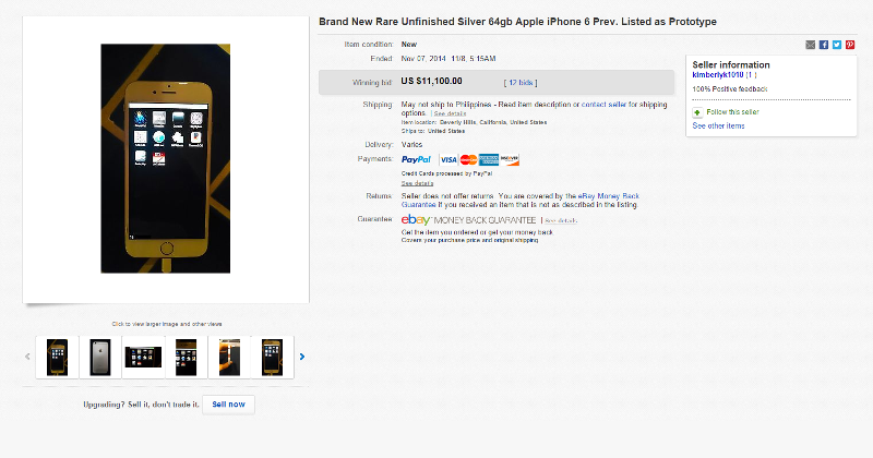 """iPhone 6 """"prototype"""" reappears as """"unfinished"""" model, now sold"""