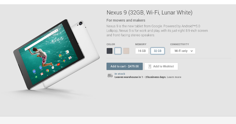 Nexus 9 now available, ships in 1-2 days