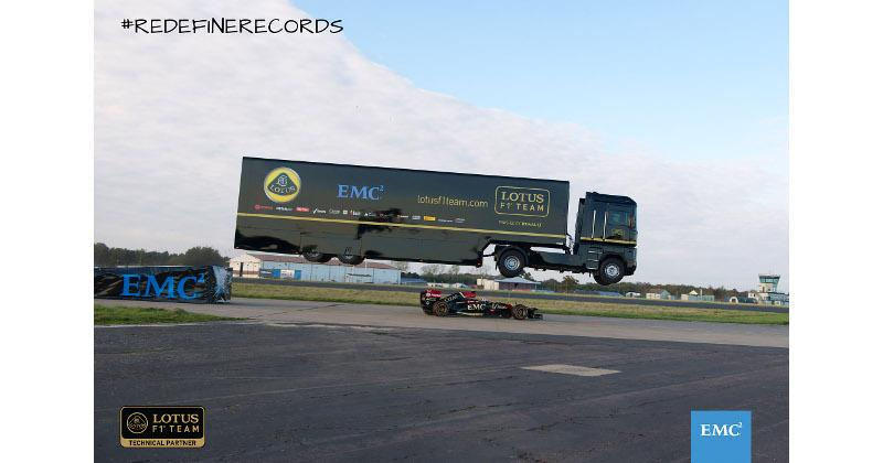 EMC, Lotus jumps a truck over an F1 car, sets world record