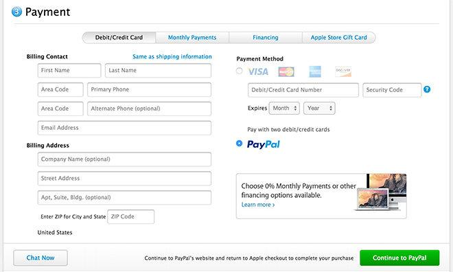 Apple now lets US, UK buyers use PayPal for hardware