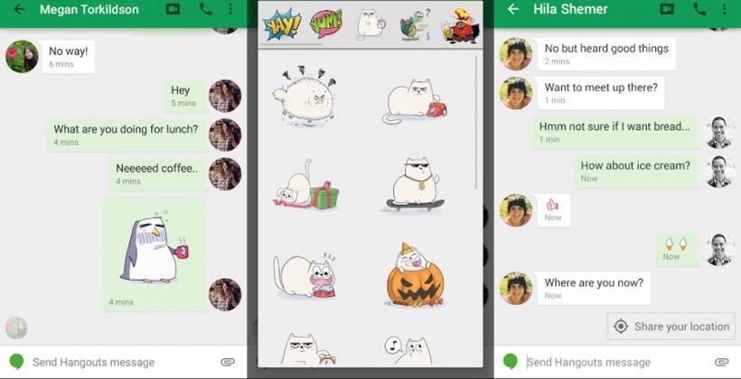 Hangouts update brings stickers, location awareness