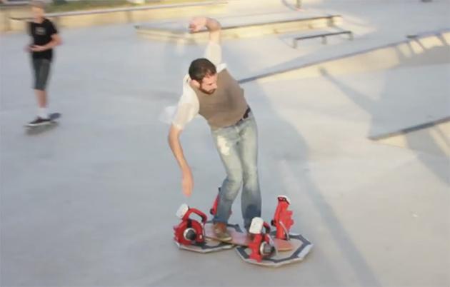 DIY hoverboard powered by 4 leaf blowers