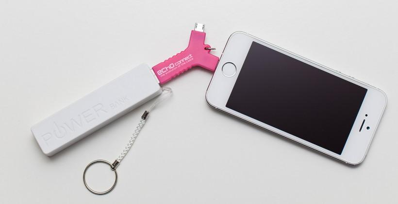 Connect Plus keychain adapter has micro USB, Lightning connectors