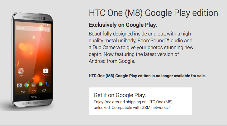 Google Play edition program dead as HTC One M8 departs