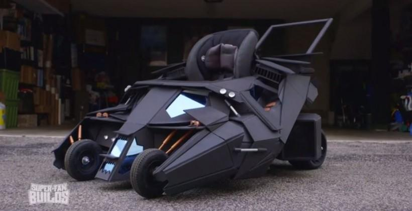 Batmobile stroller: a miniature tumbler replica for toddlers