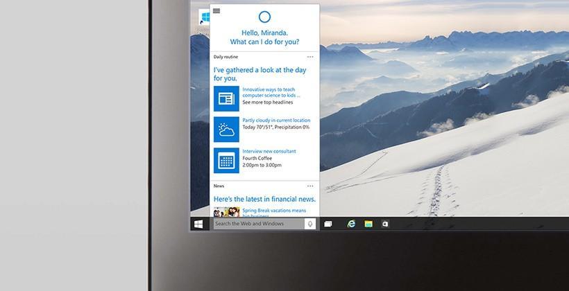 Cortana for Windows 10 demoed on desktop taskbar