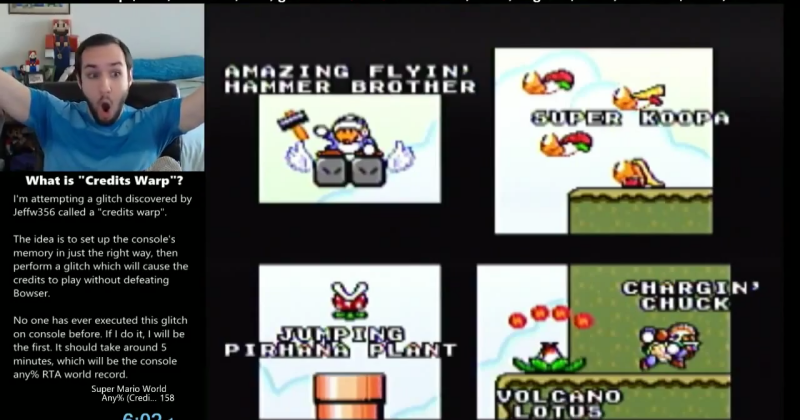 Impossibly difficult Super Mario cheat glitch pulled off
