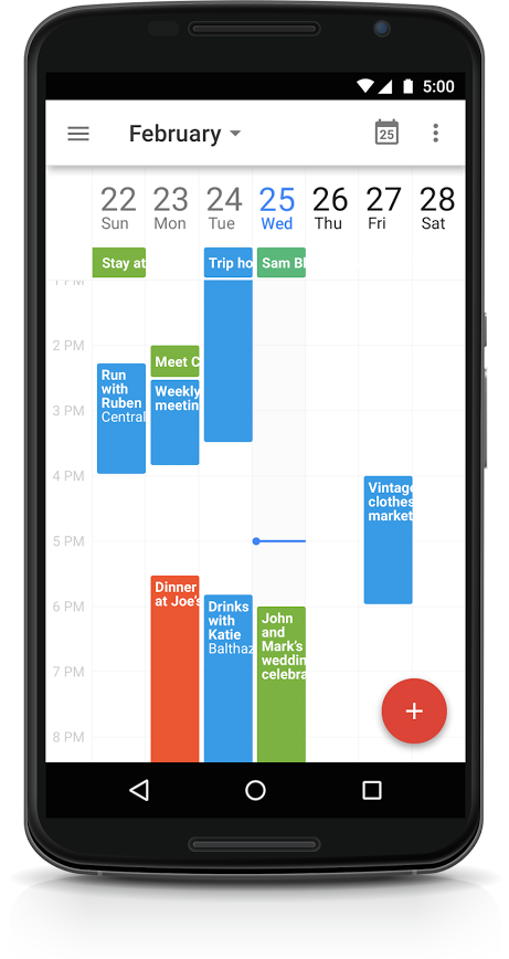 Google Calendar app updated with pinch-to-zoom, 7-day view