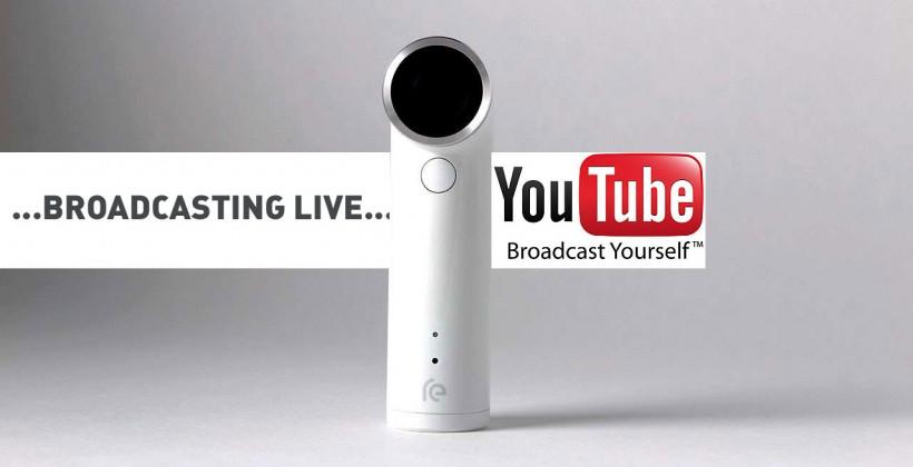 HTC RE camera YouTube live streaming activated on iOS and Android