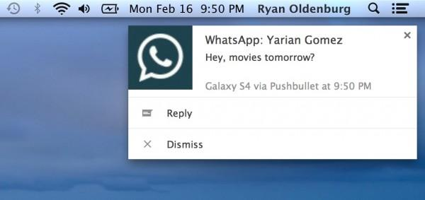 Pushbullet update lets you reply to messaging apps on your