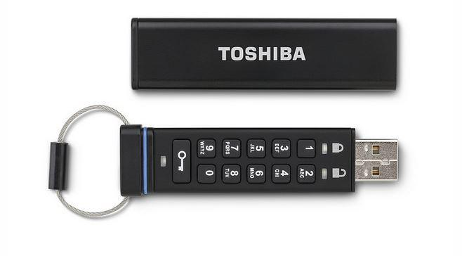 Toshiba Encrypted USB Flash Drive includes physical keypad