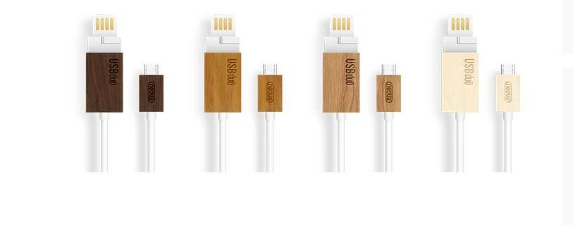 USBduo cable features integrated card reader, wooden ends