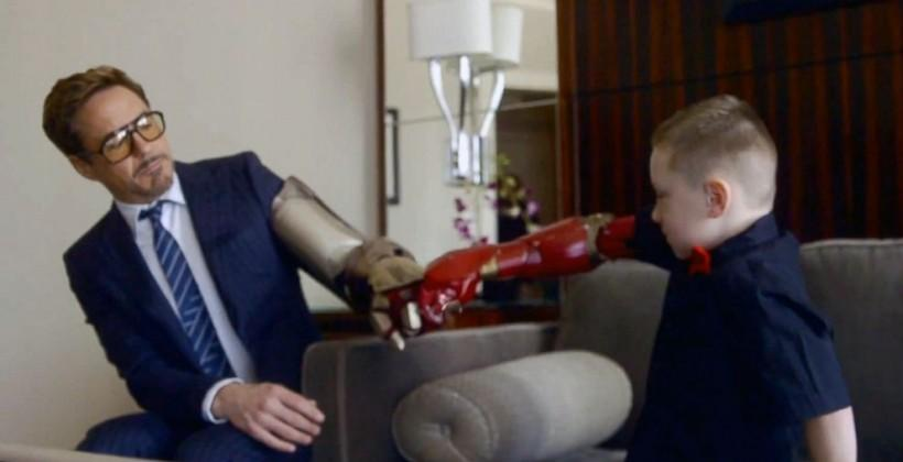 Robert Downey Jr. brings a bionic Iron Man arm to a 7-year-old fan