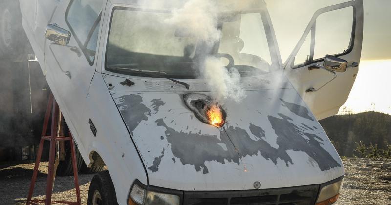 Lockheed Martin laser burns through truck engine a mile away