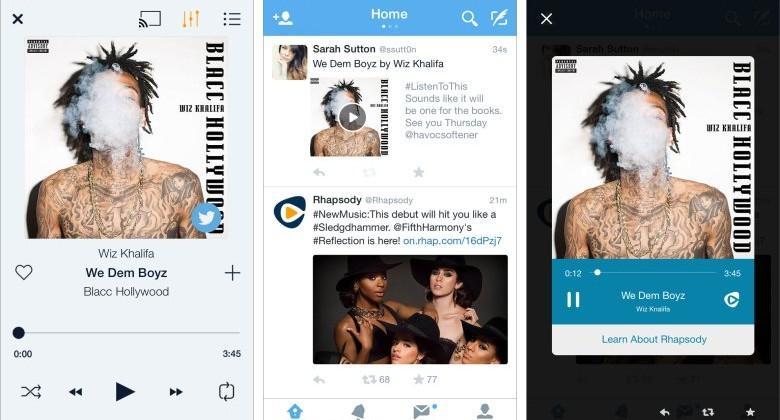 Rhapsody now streams full tracks inside Twitter app