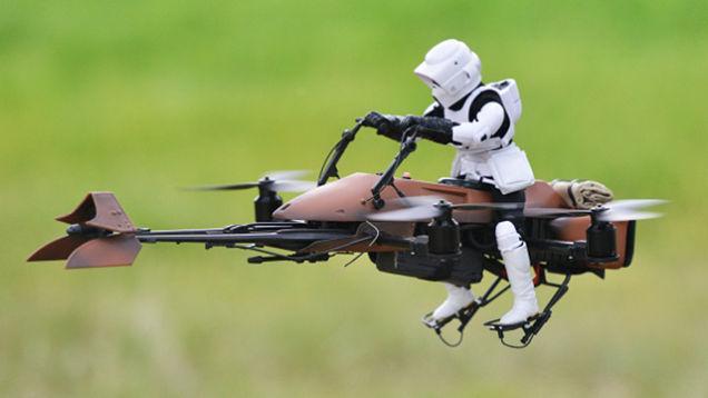 Star Wars Speeder Bike drone puts mini trooper in the air