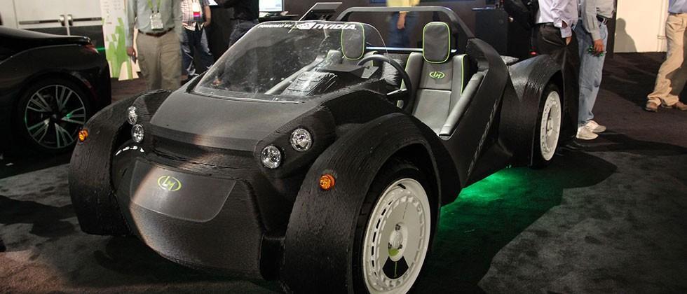 "Local Motors' 3D-printed car ""Strati"" up close with NVIDIA DRIVE CX"
