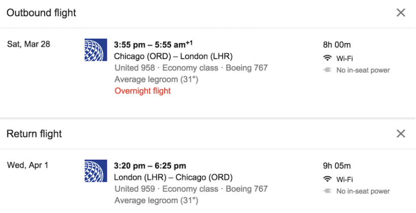 Google flight searches to show if WiFi, power outlets available