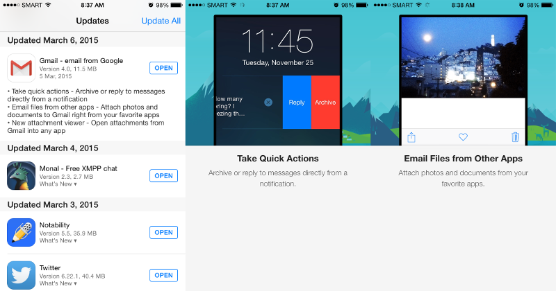 Gmail for iOS makes life easier with quick actions, sharing