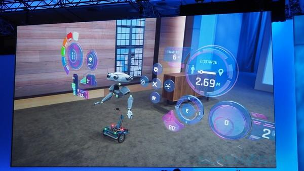 Microsoft shows how augmented, real spaces interact with cute robot