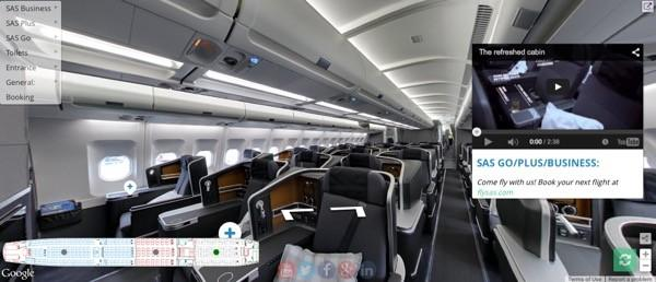 You can tour SAS' new long-haul airplane cabin with Street View