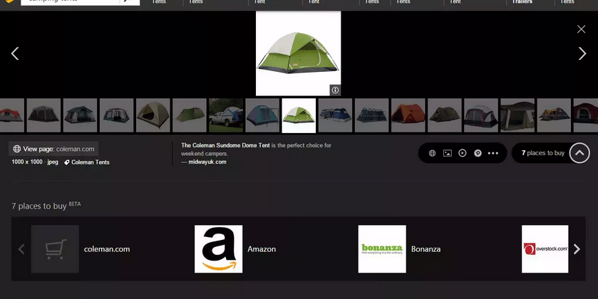 Bing adds product purchasing options inside of image search