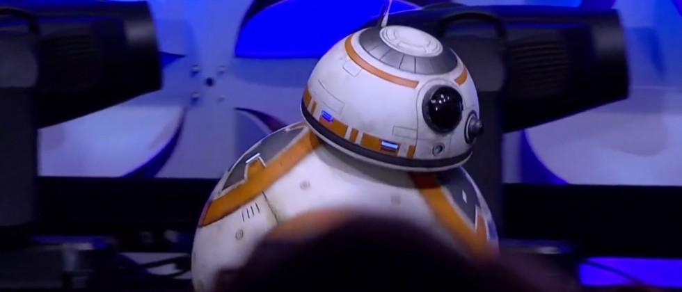 Spherical droid BB-8 rolls onstage at Star Wars Celebration 2015