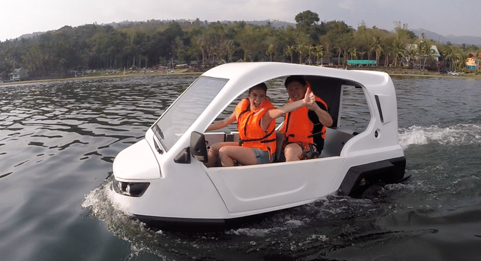 H2O Salamander trike turns into a boat when needed