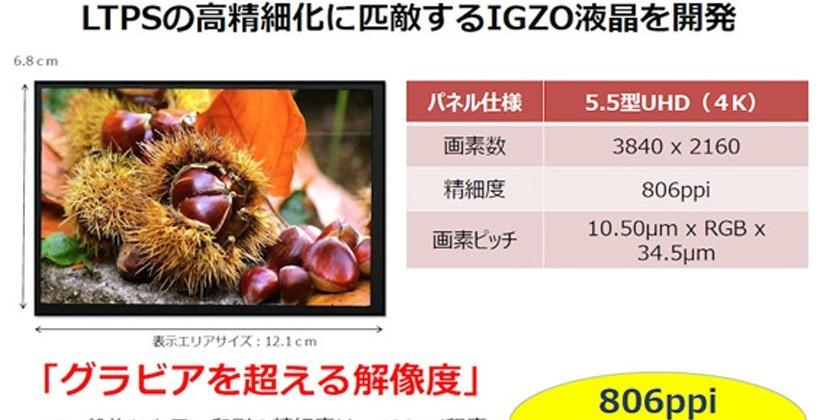 Sharp outs 5.5-inch 4K display with 806ppi