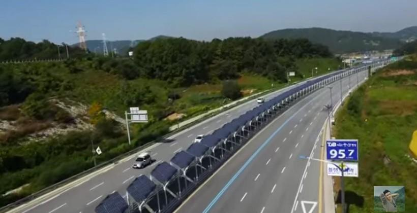 Bike lane in the middle of a South Korean highway is covered with solar panels