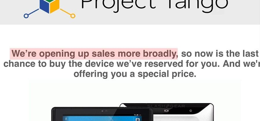 "Google's Project Tango sales ""opening up more broadly"""