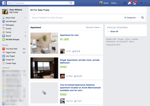 Facebook delves into online garage sales with improved search