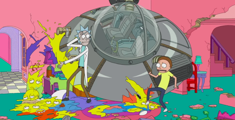 The Simpsons couch gag has Rick and Morty crash in