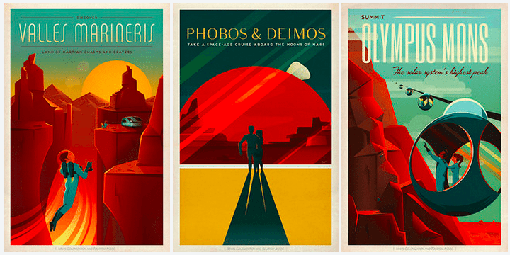 SpaceX teases Mars-bound future with retro travel posters