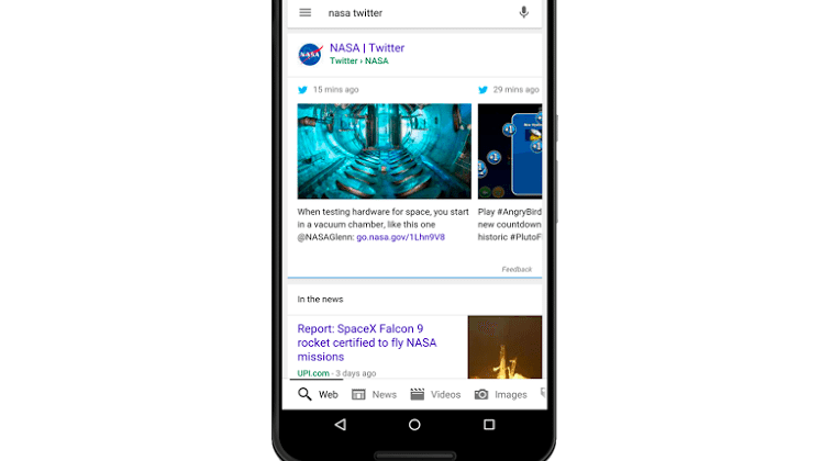 Google's mobile search results now show real-time tweets