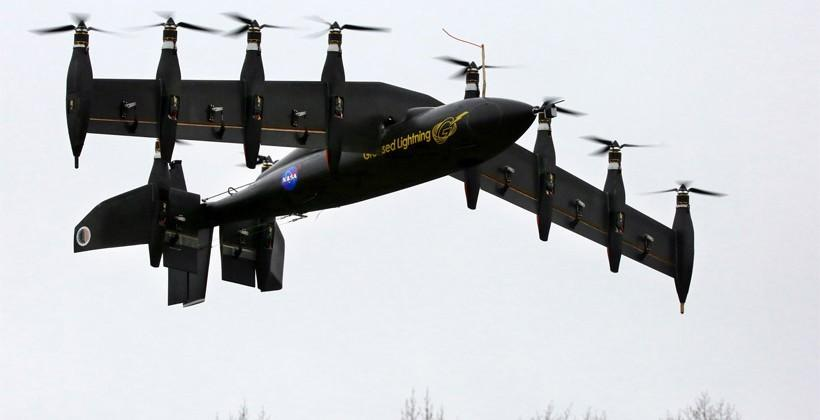NASA researchers create 10-engine vertical takeoff electric airplane