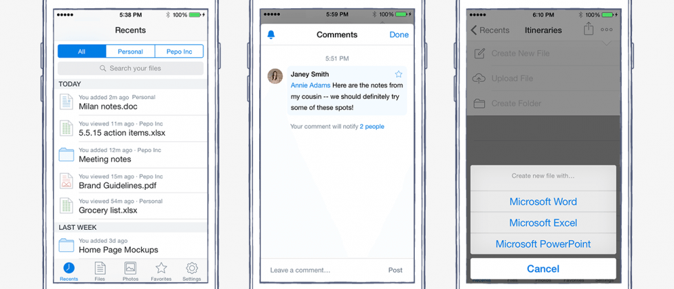 Dropbox for iOS adds commenting, Office doc creation coming soon