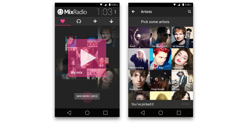 MixRadio's personalized music streaming lands on Android, iOS