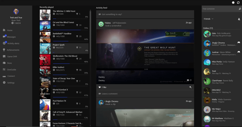 Xbox on Windows 10 preview brings avatars and friends