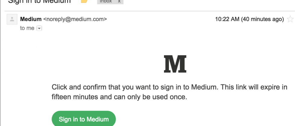 Medium replaces passwords with secure email links