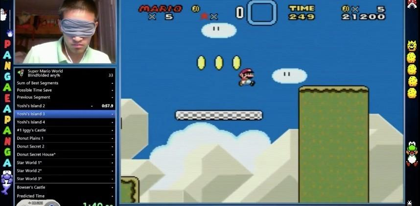 Blindfolded gamer beats Super Mario World in just 23 minutes