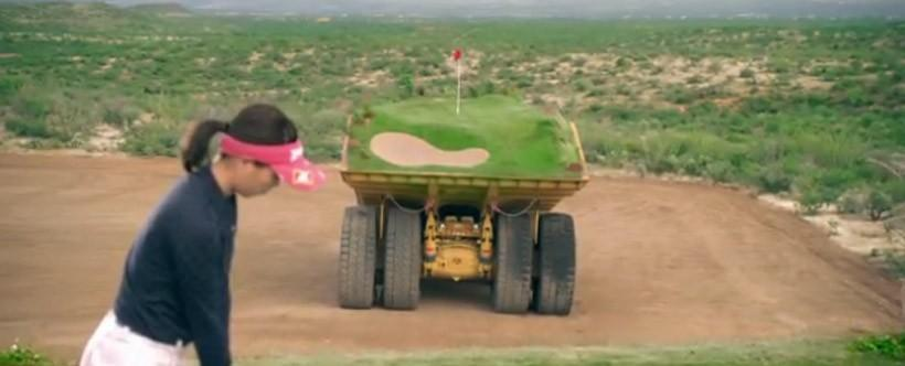 Golf course on dump trucks is the most exciting golf ever