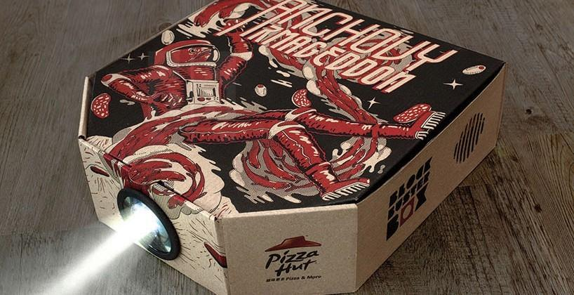 PIzza Hut HK's box doubles as a projector case