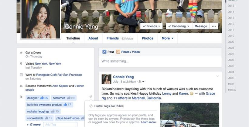 Facebook testing out profile tags feature