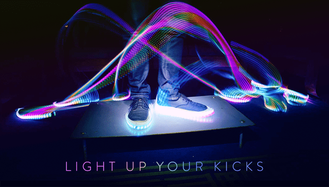 Blinky.Shoes are customizable LED light strips for your shoes