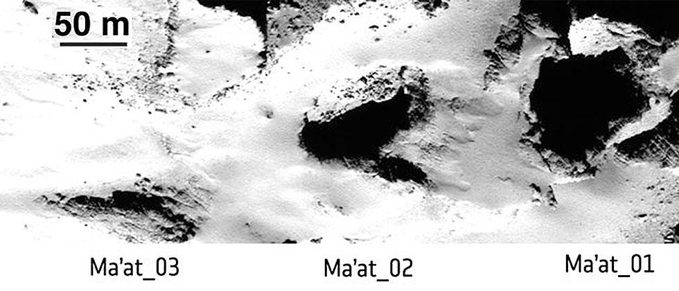 Rosetta finds sinkholes that could swallow a pyramid