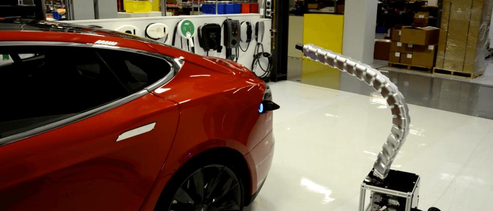 "Tesla's ""solid metal snake"" robo-charger is terrifying"